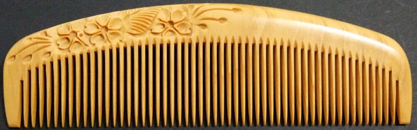 Carved boxwood comb-13.5cm -Cherry Blossom-