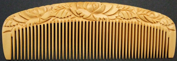 Carved boxwood comb-12cm -Rose-
