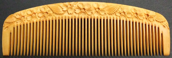 Carved boxwood comb-12cm -Cherry Blossom-