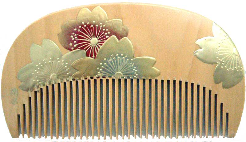 Painted boxwood comb  Cherry blossom