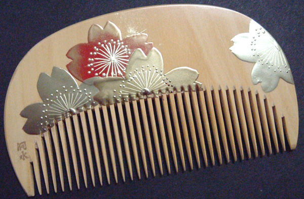 Painted boxwood comb -Cherry blossom-