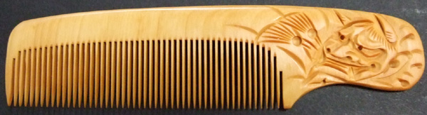 Carved Boxwood comb -Hannya (Oni)-